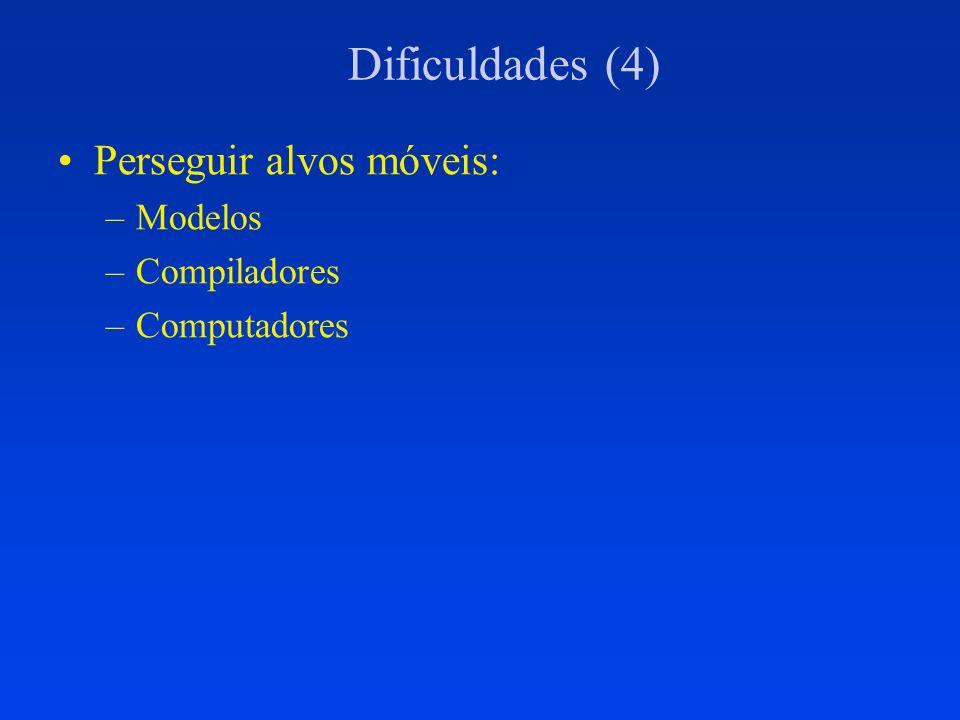 Dificuldades (4) Perseguir alvos móveis: Modelos Compiladores