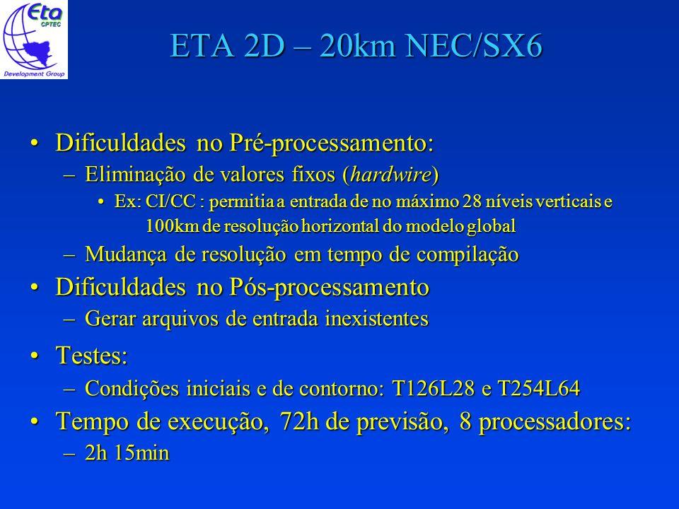 ETA 2D – 20km NEC/SX6 Dificuldades no Pré-processamento: