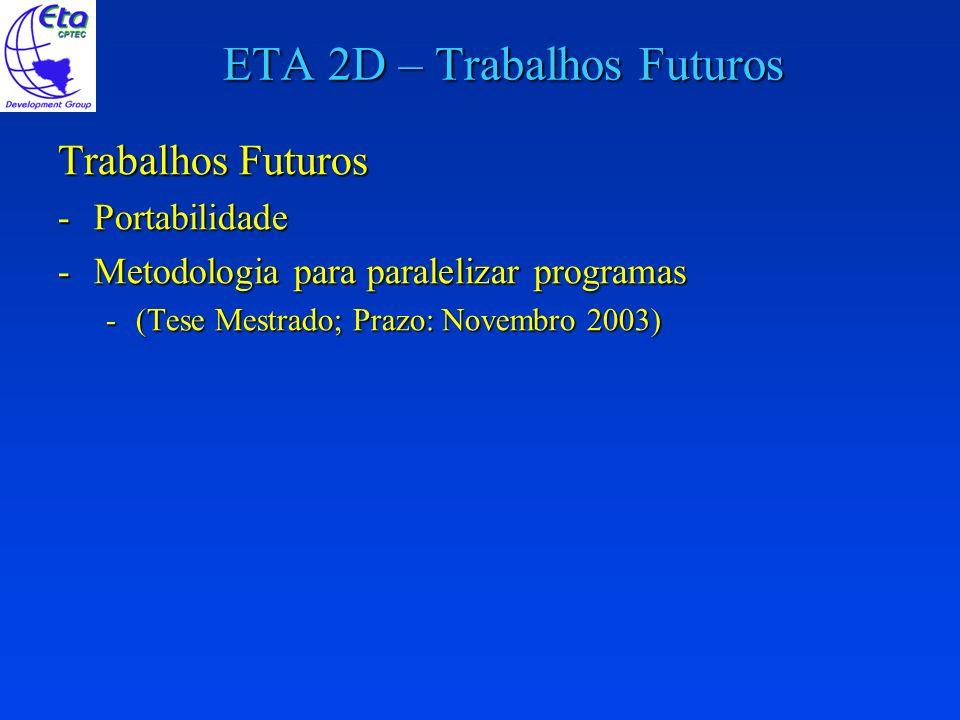 ETA 2D – Trabalhos Futuros