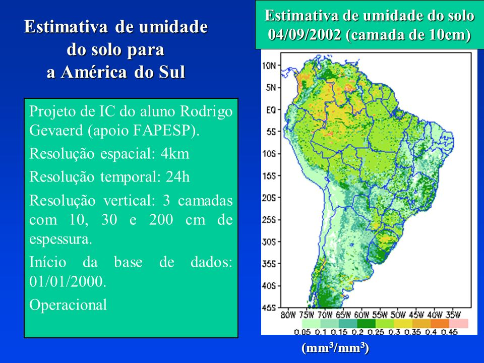 Estimativa de umidade do solo para a América do Sul