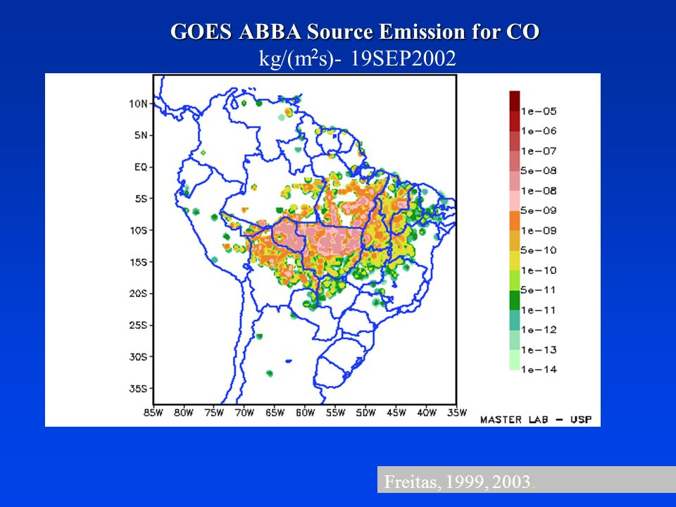 GOES ABBA Source Emission for CO kg/(m2s)- 19SEP2002