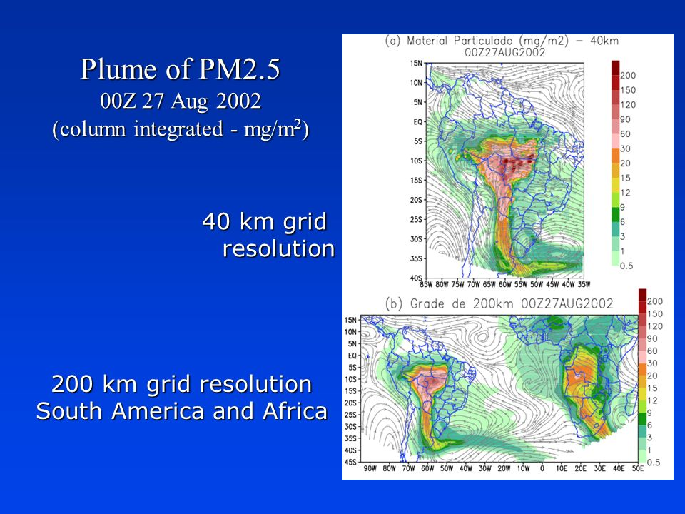 Plume of PM2.5 00Z 27 Aug 2002 (column integrated - mg/m2)
