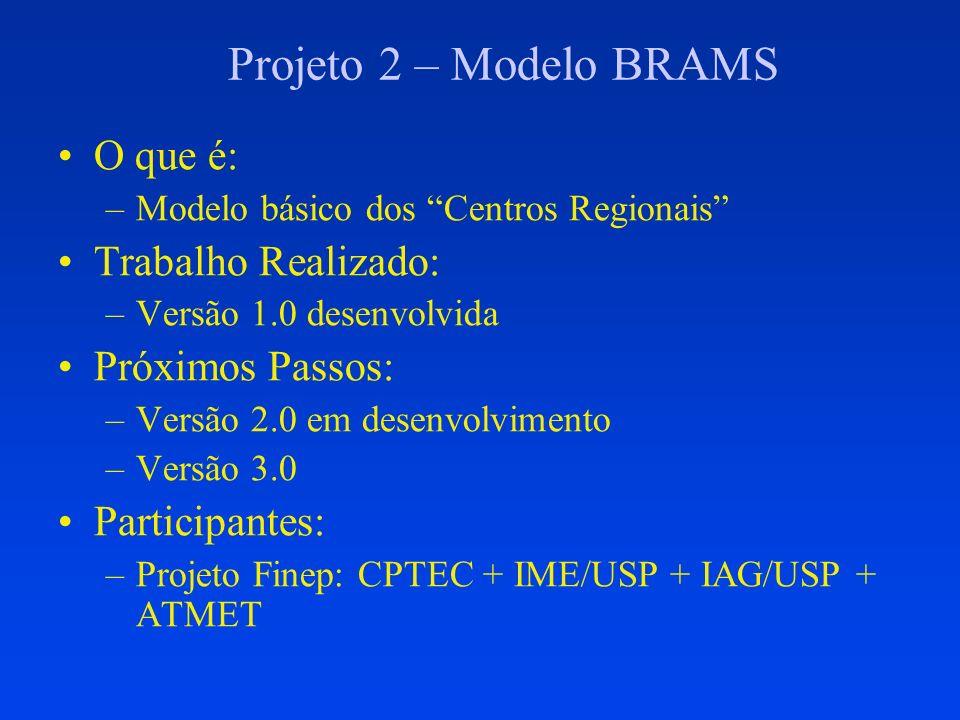 Projeto 2 – Modelo BRAMS O que é: Trabalho Realizado: Próximos Passos: