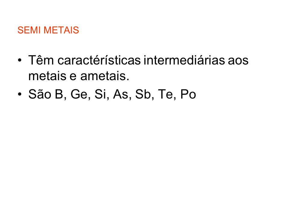 Têm caractérísticas intermediárias aos metais e ametais.