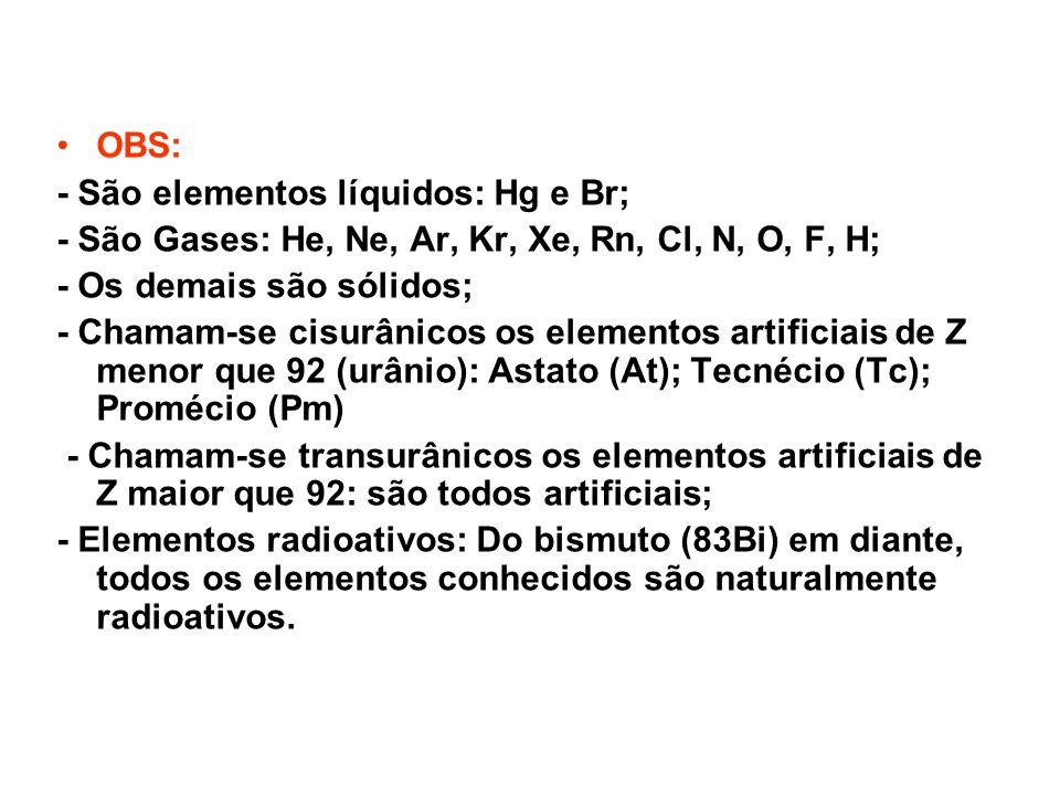 OBS: - São elementos líquidos: Hg e Br; - São Gases: He, Ne, Ar, Kr, Xe, Rn, Cl, N, O, F, H; - Os demais são sólidos;