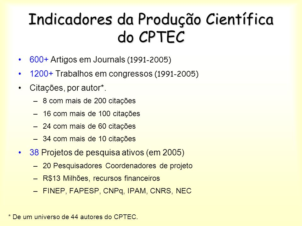 Indicadores da Produção Científica do CPTEC