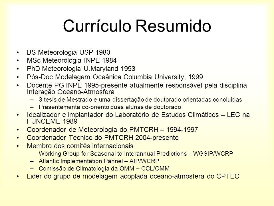 Currículo Resumido BS Meteorologia USP 1980 MSc Meteorologia INPE 1984