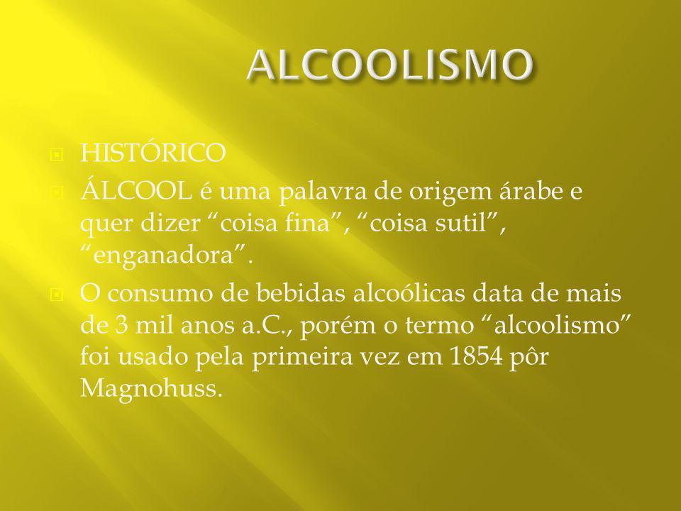 ALCOOLISMO HISTÓRICO. ÁLCOOL é uma palavra de origem árabe e quer dizer coisa fina , coisa sutil , enganadora .