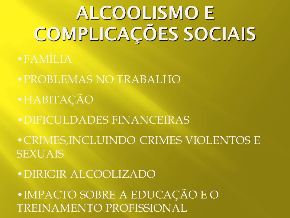 ALCOOLISMO E COMPLICAÇÕES SOCIAIS