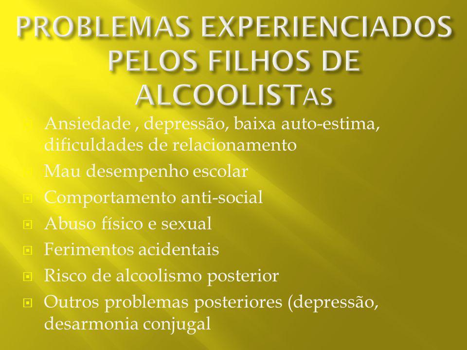 PROBLEMAS EXPERIENCIADOS PELOS FILHOS DE ALCOOLISTAS