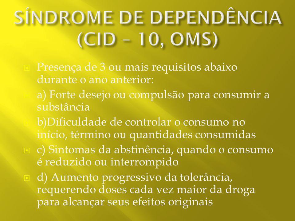 SÍNDROME DE DEPENDÊNCIA (CID – 10, OMS)