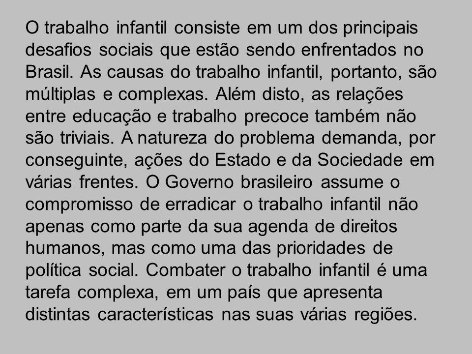 O trabalho infantil consiste em um dos principais desafios sociais que estão sendo enfrentados no Brasil.