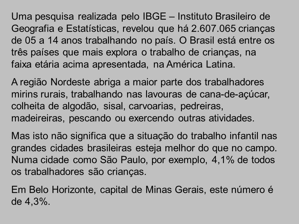 Uma pesquisa realizada pelo IBGE – Instituto Brasileiro de Geografia e Estatísticas, revelou que há 2.607.065 crianças de 05 a 14 anos trabalhando no país. O Brasil está entre os três países que mais explora o trabalho de crianças, na faixa etária acima apresentada, na América Latina.