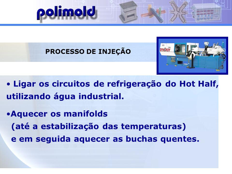 PROCESSO DE INJEÇÃO Ligar os circuitos de refrigeração do Hot Half, utilizando água industrial.