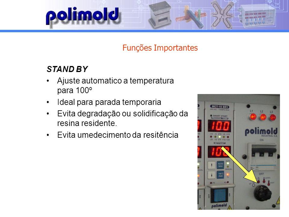 Funções Importantes STAND BY. Ajuste automatico a temperatura para 100º. Ideal para parada temporaria.