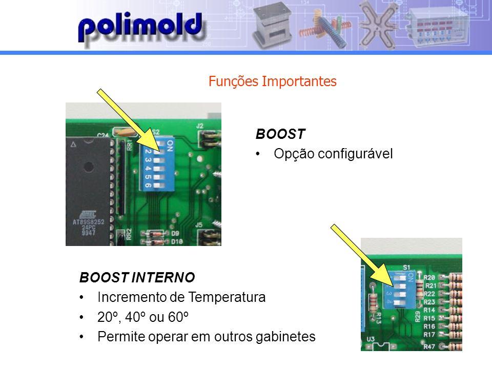 Funções Importantes BOOST. Opção configurável. BOOST INTERNO. Incremento de Temperatura. 20º, 40º ou 60º.