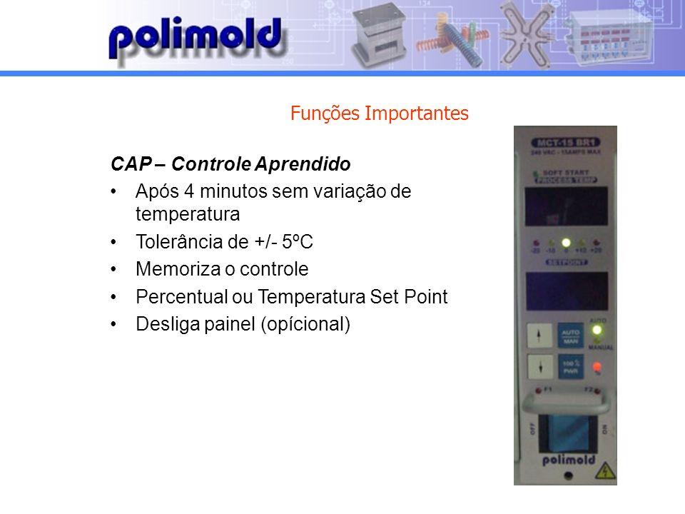 Funções Importantes CAP – Controle Aprendido. Após 4 minutos sem variação de temperatura. Tolerância de +/- 5ºC.