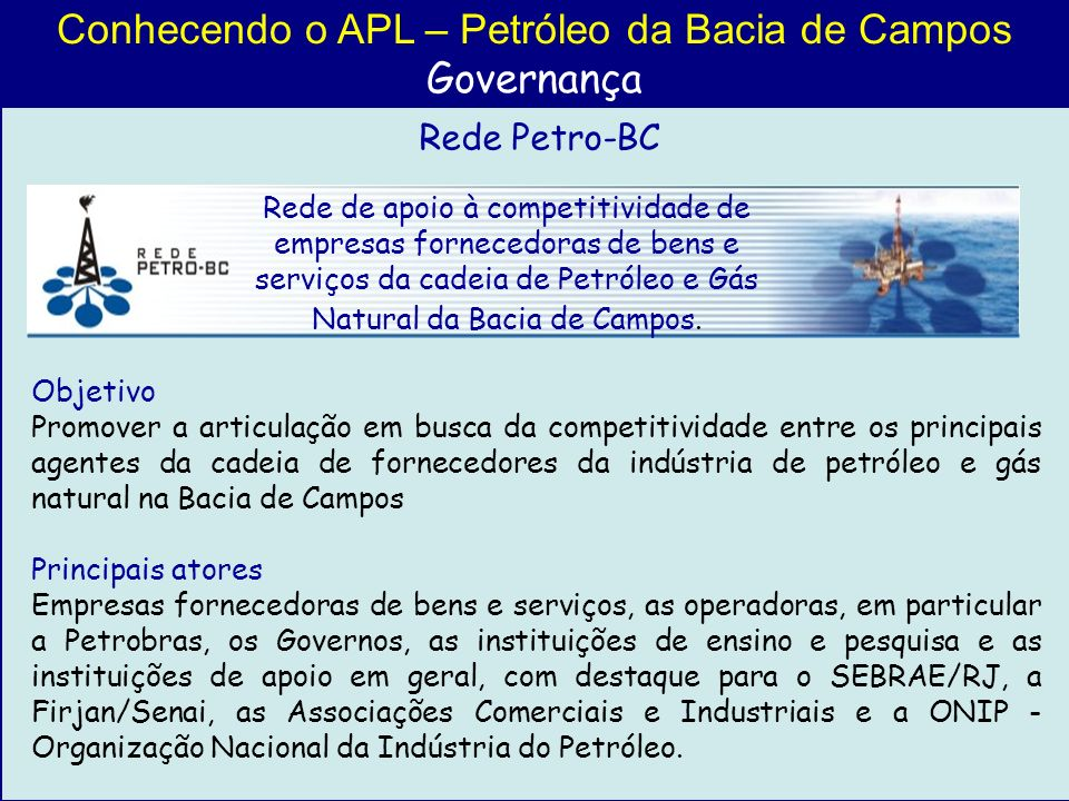 Conhecendo o APL – Petróleo da Bacia de Campos
