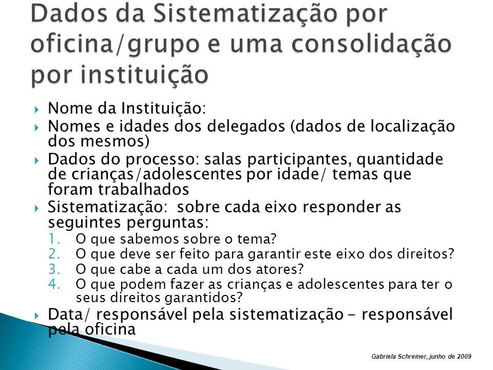 Dados da Sistematização por oficina/grupo e uma consolidação por instituição