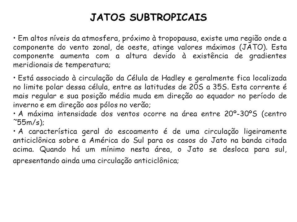 JATOS SUBTROPICAIS