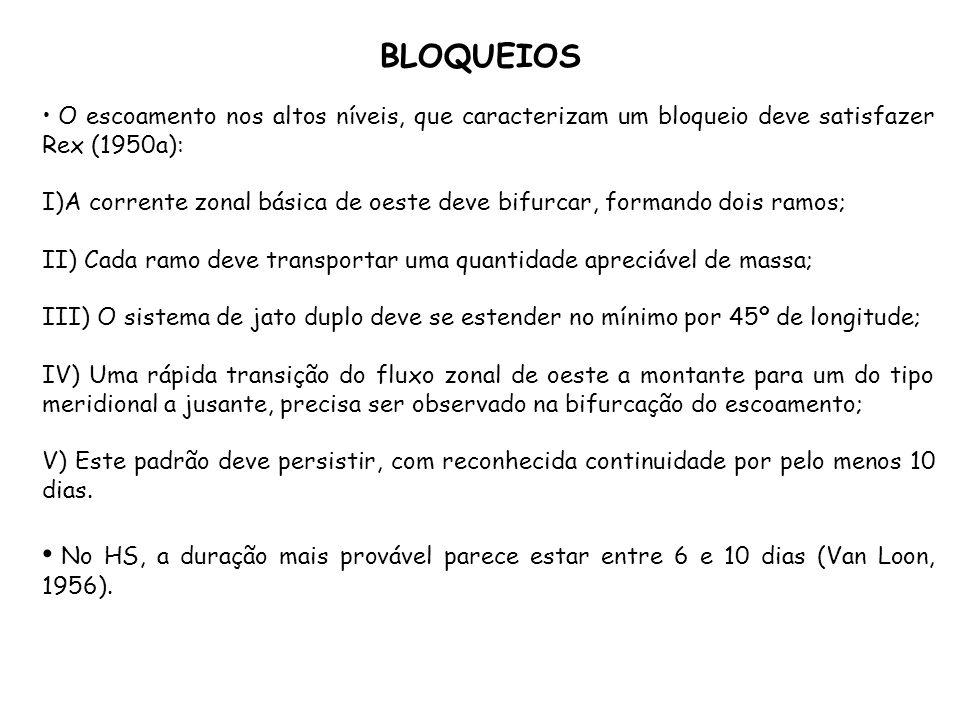 BLOQUEIOS O escoamento nos altos níveis, que caracterizam um bloqueio deve satisfazer Rex (1950a):