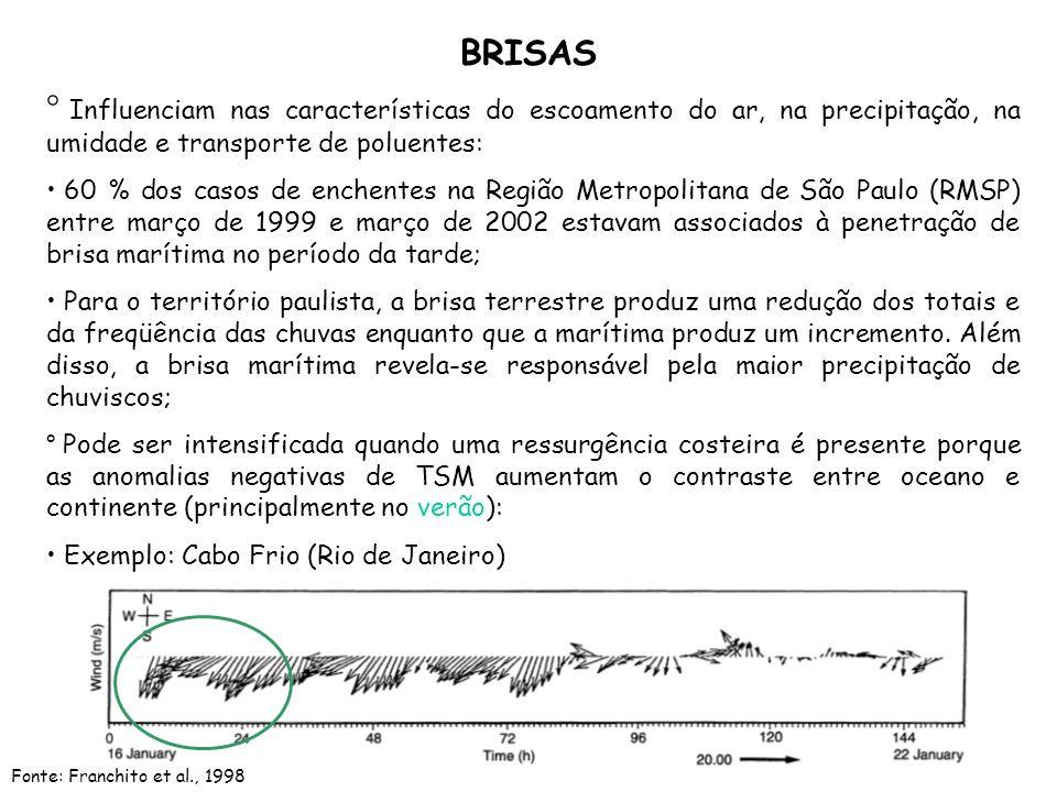 BRISAS Influenciam nas características do escoamento do ar, na precipitação, na umidade e transporte de poluentes: