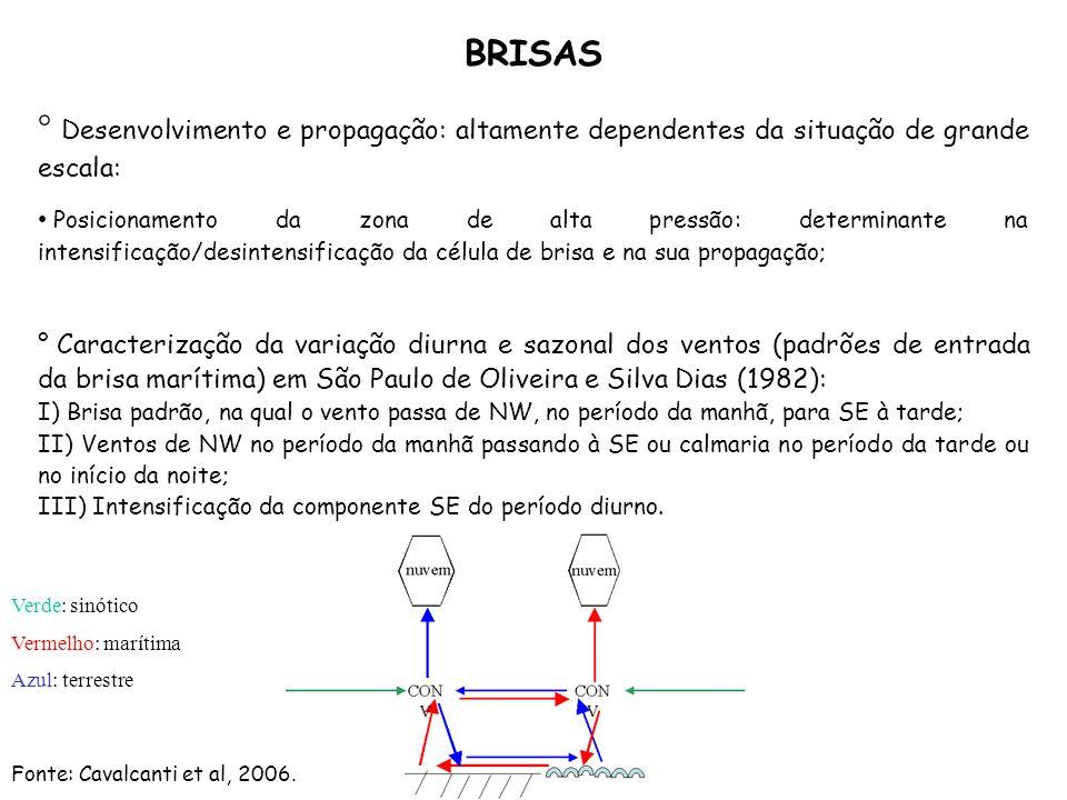 BRISAS Desenvolvimento e propagação: altamente dependentes da situação de grande escala: