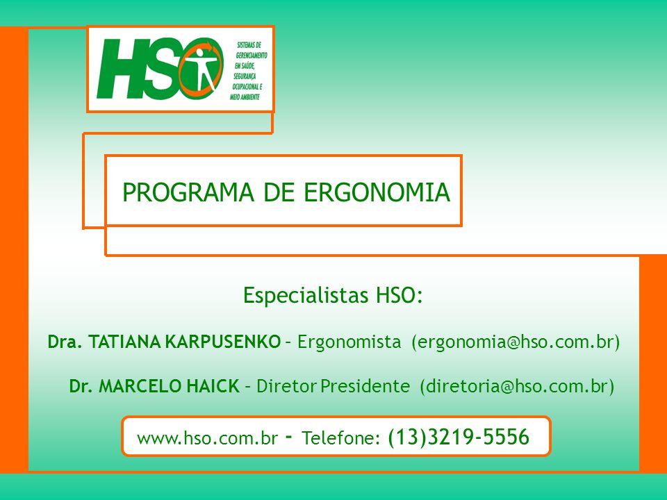 PROGRAMA DE ERGONOMIA Especialistas HSO: