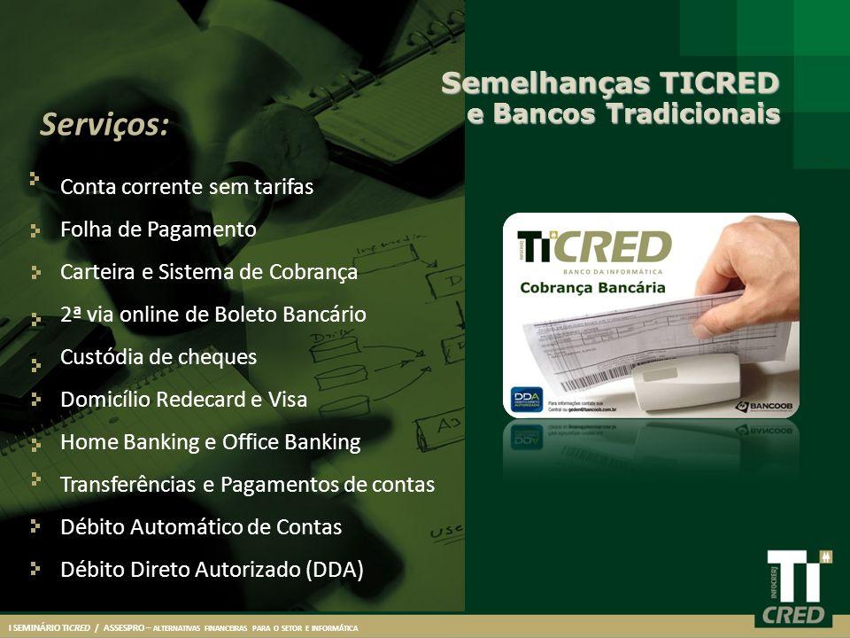 Serviços: Semelhanças TICRED e Bancos Tradicionais