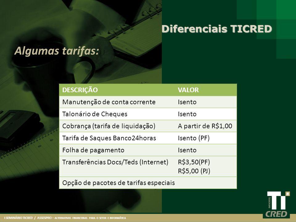 Algumas tarifas: Diferenciais TICRED DESCRIÇÃO VALOR