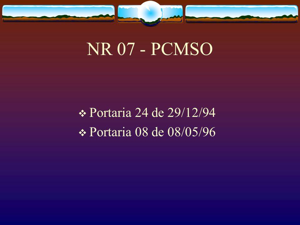 NR 07 - PCMSO Portaria 24 de 29/12/94 Portaria 08 de 08/05/96