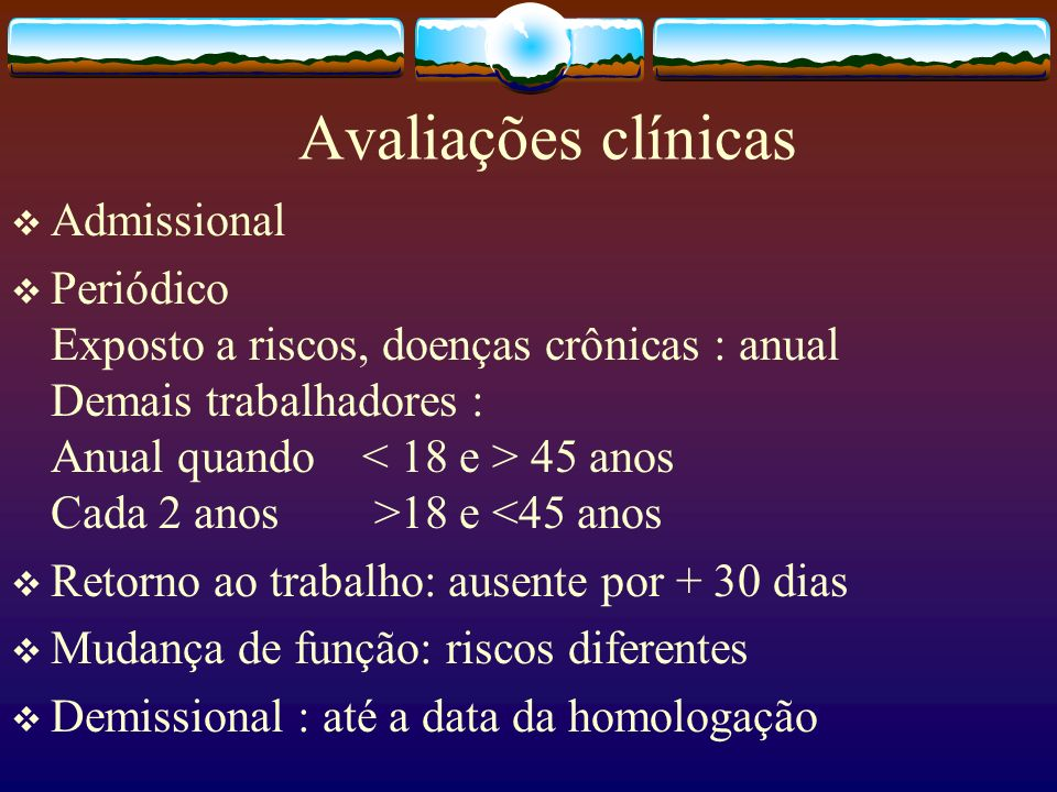 Avaliações clínicas Admissional