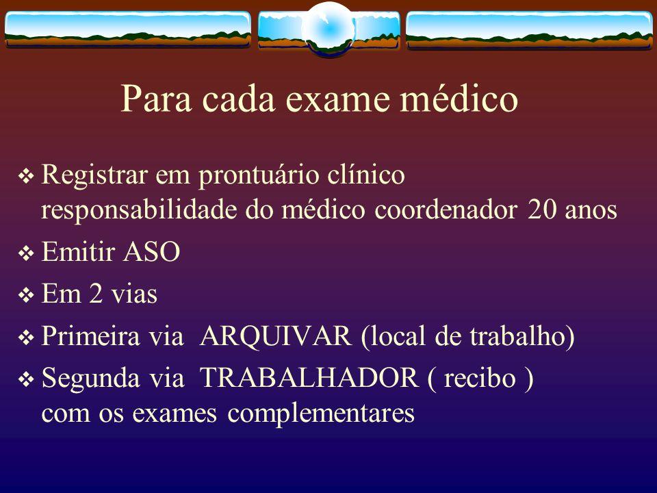 Para cada exame médicoRegistrar em prontuário clínico responsabilidade do médico coordenador 20 anos.