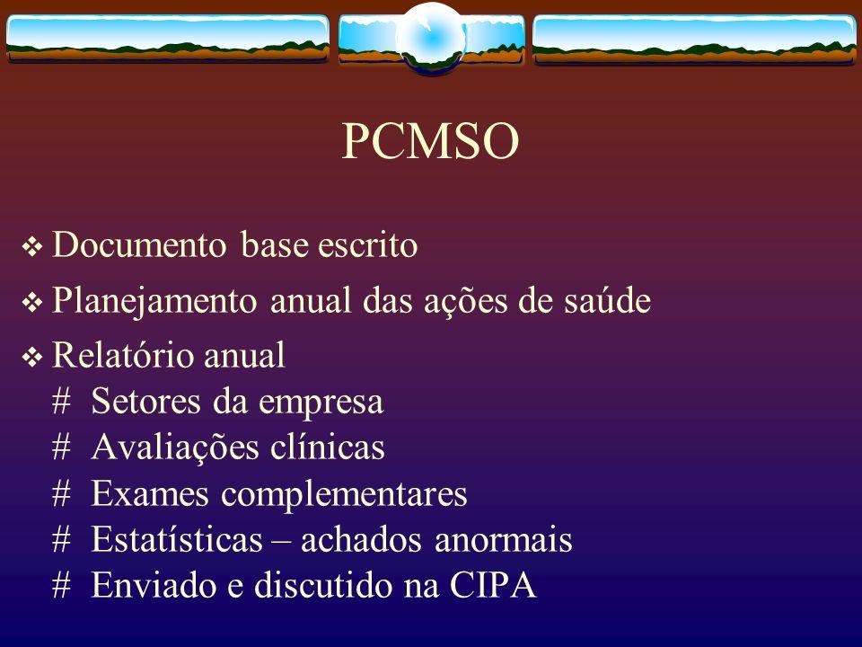 PCMSO Documento base escrito Planejamento anual das ações de saúde