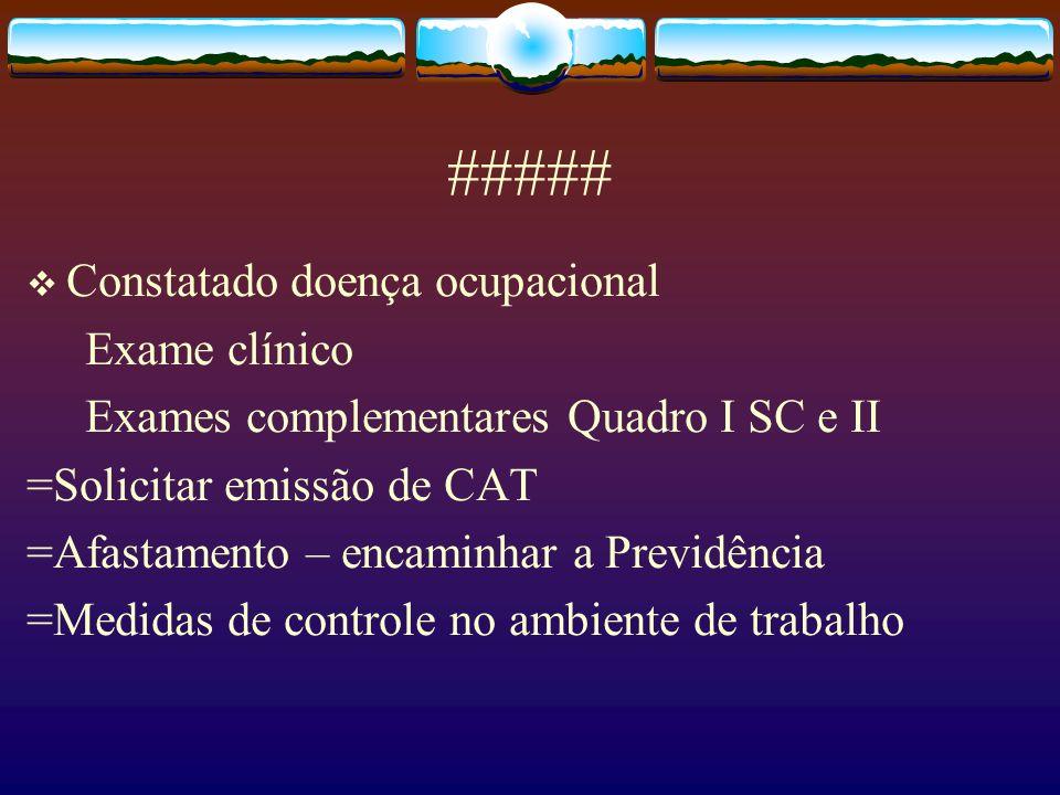 ##### Constatado doença ocupacional Exame clínico