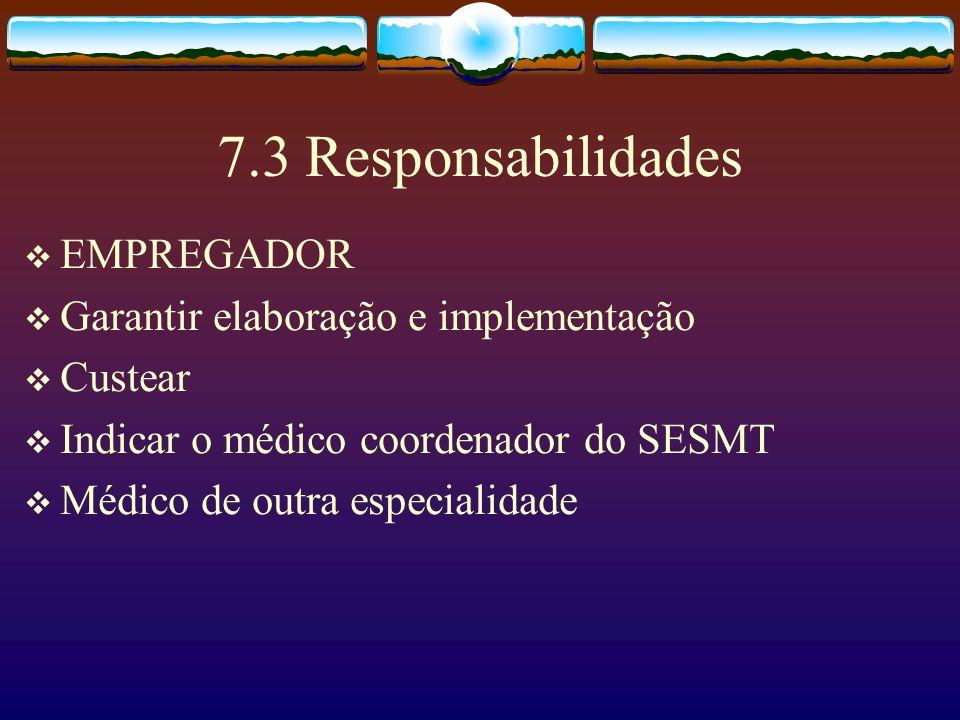 7.3 Responsabilidades EMPREGADOR Garantir elaboração e implementação