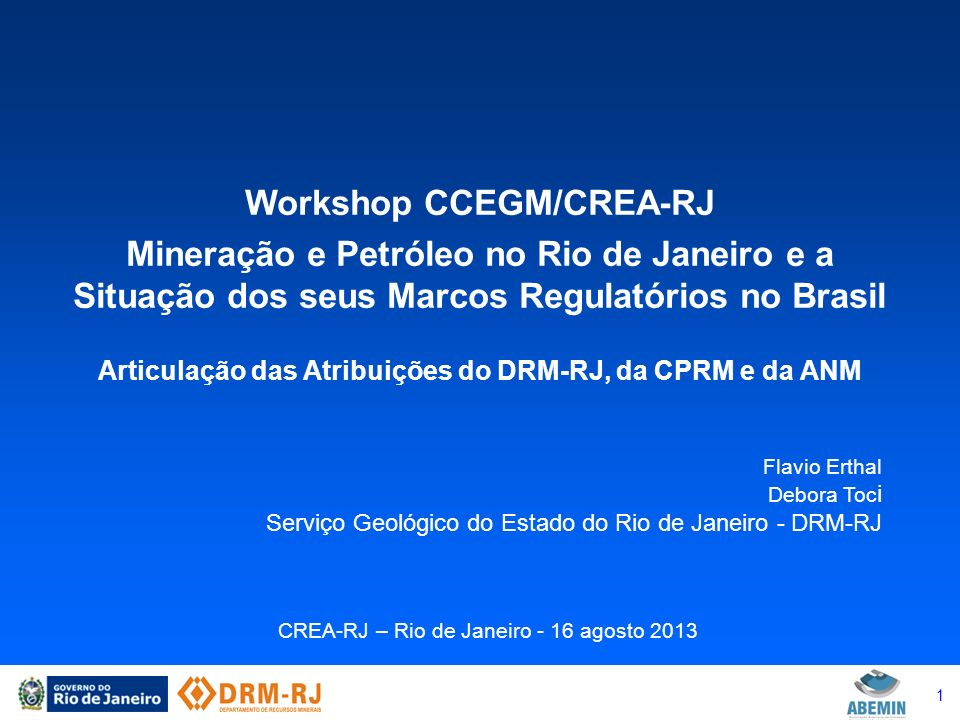 Workshop CCEGM/CREA-RJ