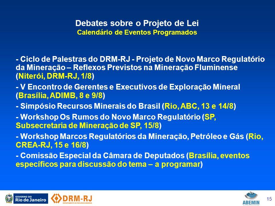 Debates sobre o Projeto de Lei Calendário de Eventos Programados