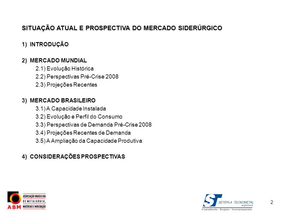 SITUAÇÃO ATUAL E PROSPECTIVA DO MERCADO SIDERÚRGICO