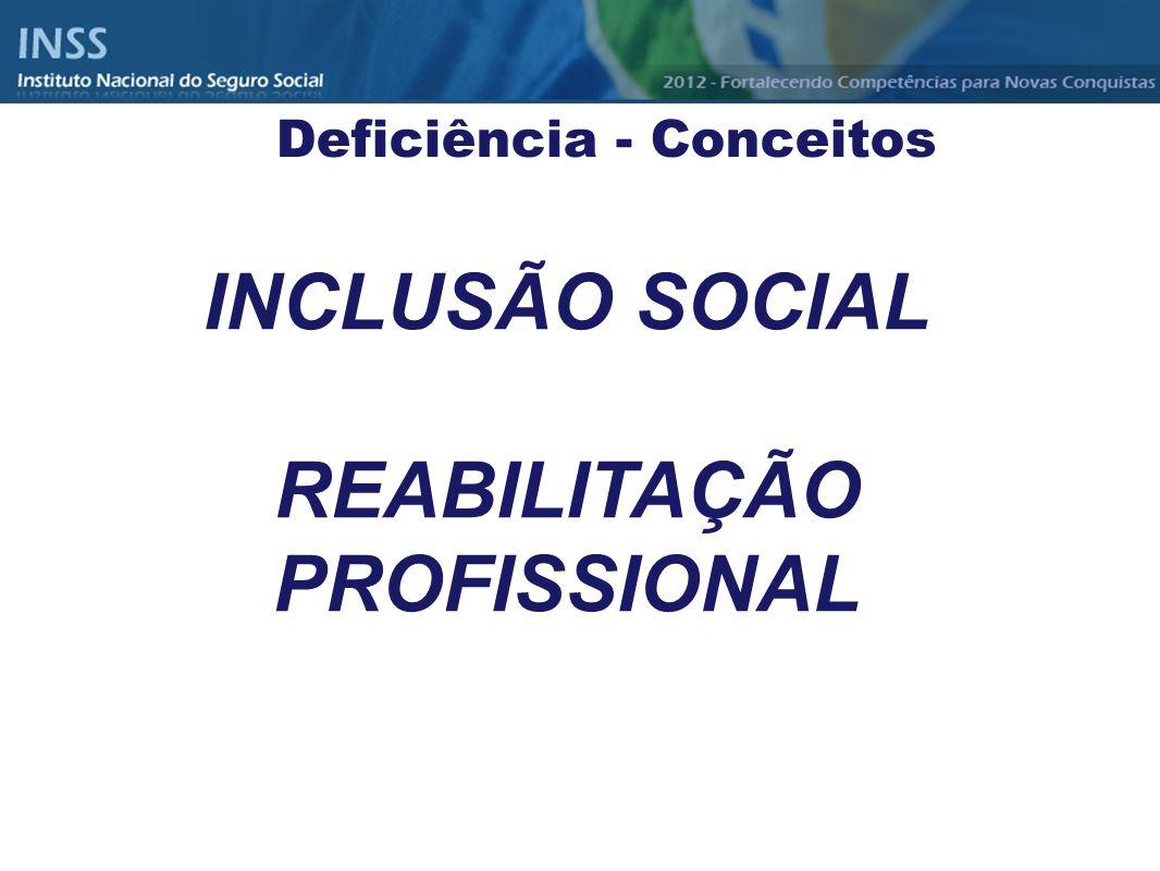 Deficiência - Conceitos REABILITAÇÃO PROFISSIONAL