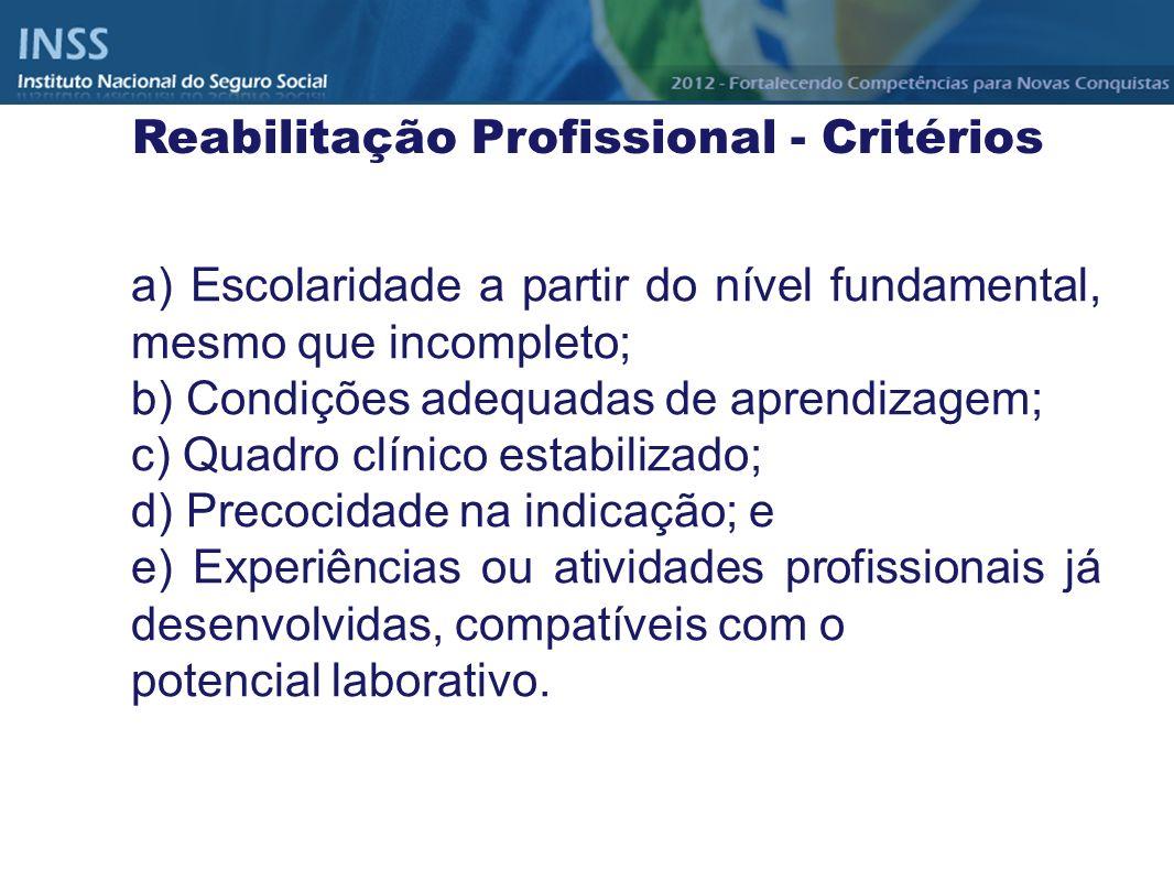 Reabilitação Profissional - Critérios
