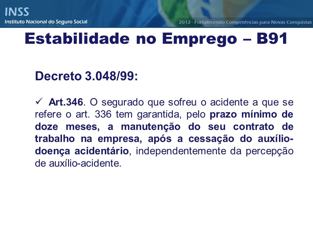 Estabilidade no Emprego – B91