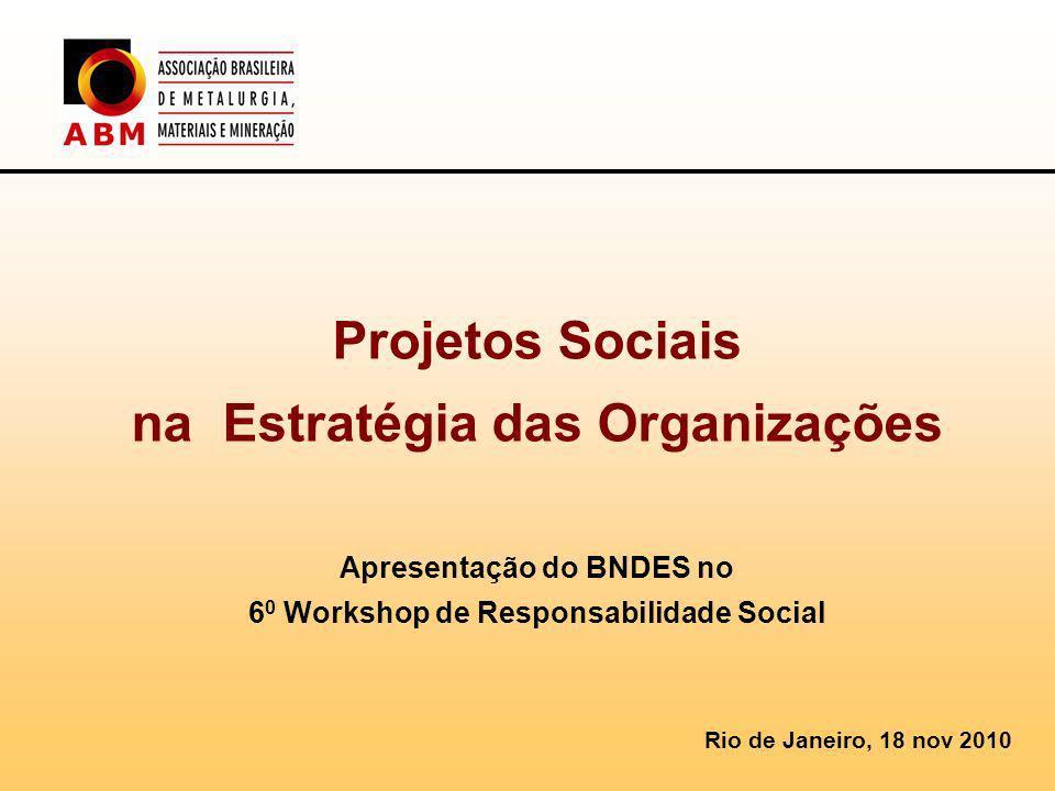 Projetos Sociais na Estratégia das Organizações Apresentação do BNDES no 60 Workshop de Responsabilidade Social
