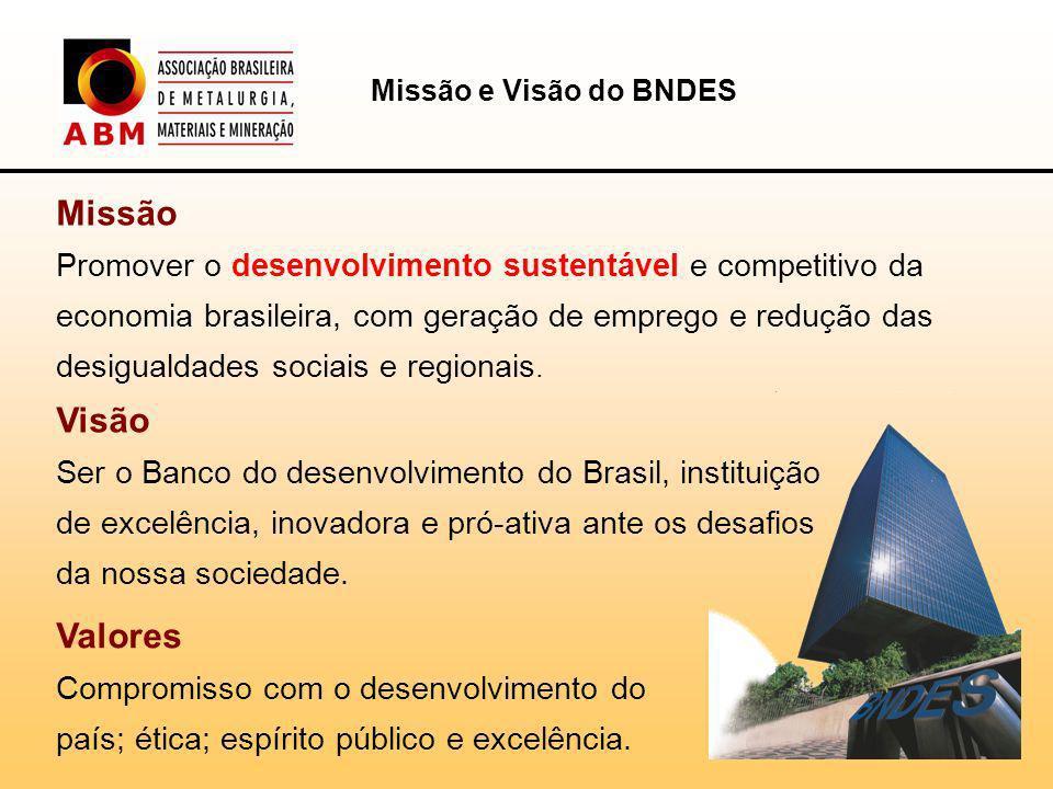 Missão e Visão do BNDES Missão.
