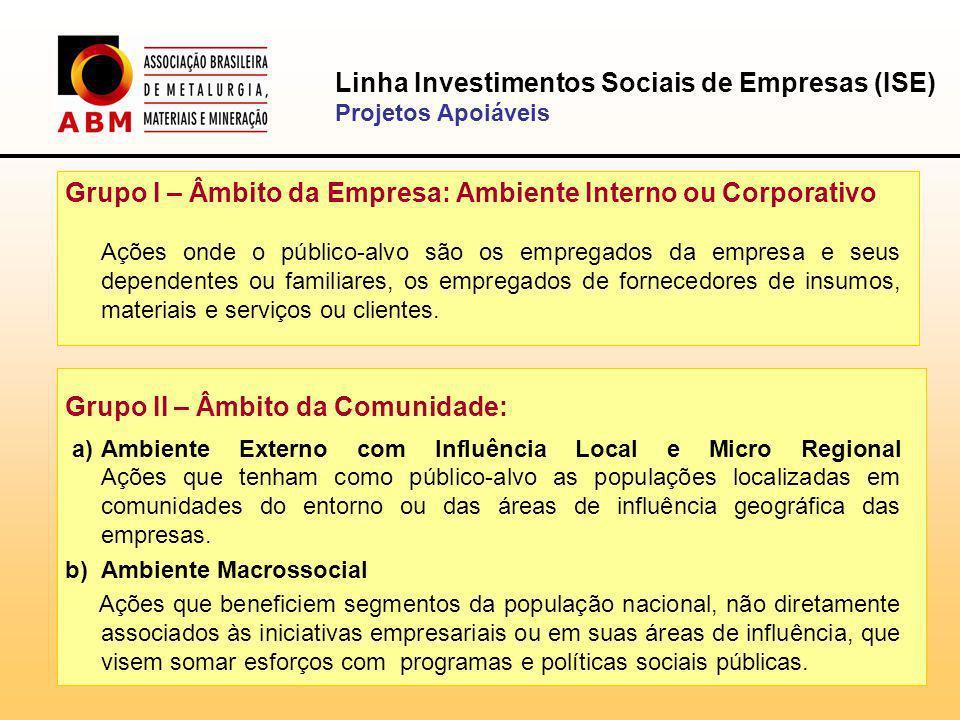 Linha Investimentos Sociais de Empresas (ISE)