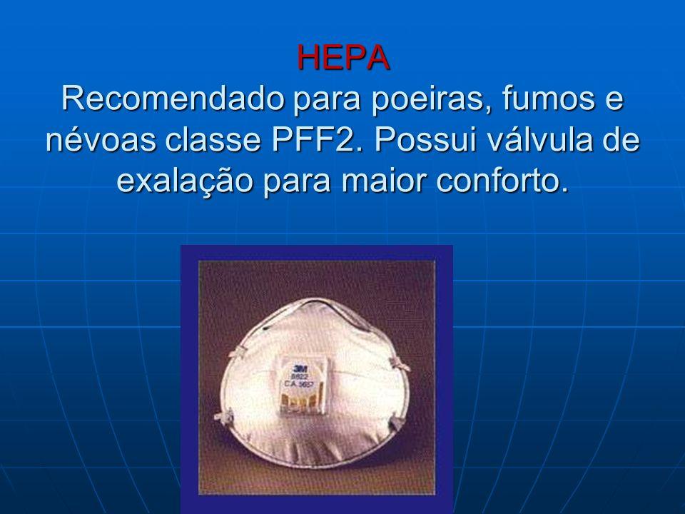 HEPA Recomendado para poeiras, fumos e névoas classe PFF2