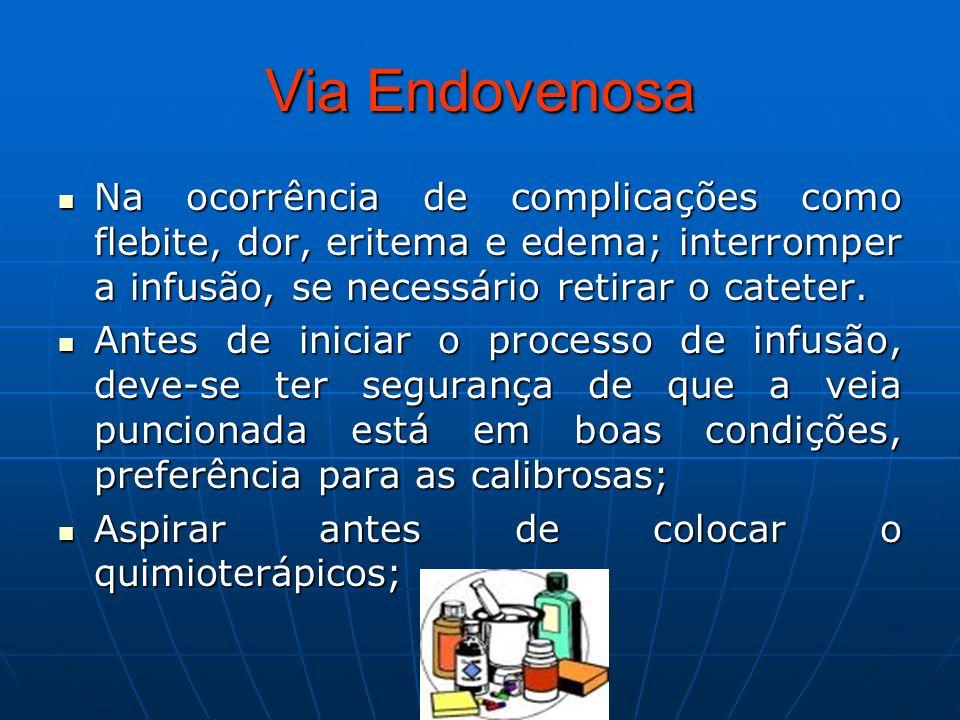 Via Endovenosa Na ocorrência de complicações como flebite, dor, eritema e edema; interromper a infusão, se necessário retirar o cateter.