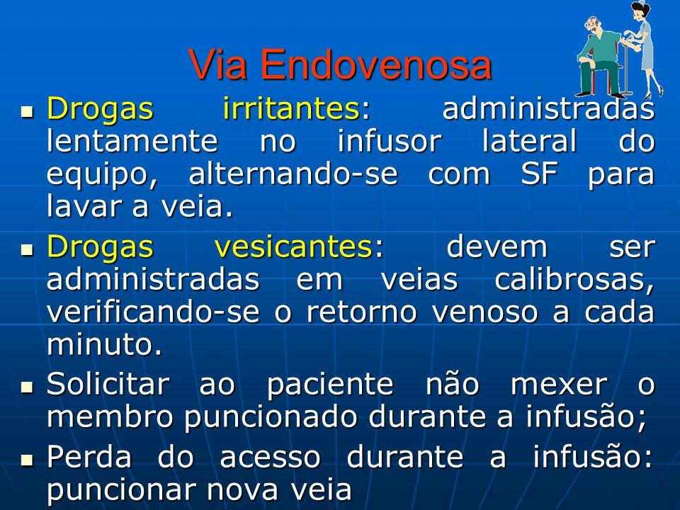 Via EndovenosaDrogas irritantes: administradas lentamente no infusor lateral do equipo, alternando-se com SF para lavar a veia.