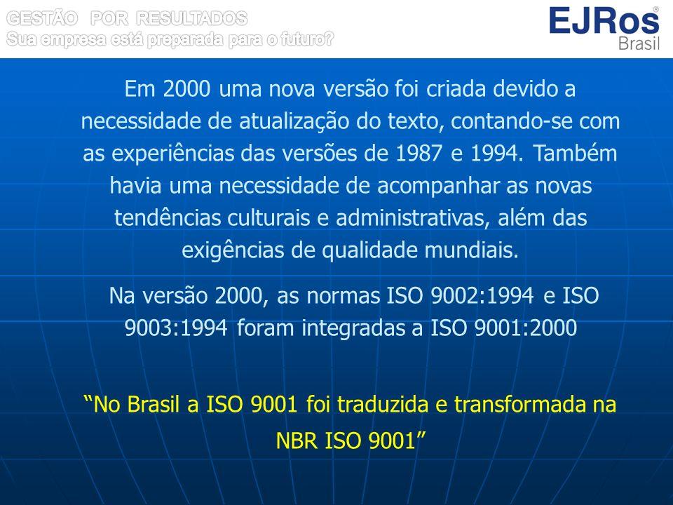 No Brasil a ISO 9001 foi traduzida e transformada na