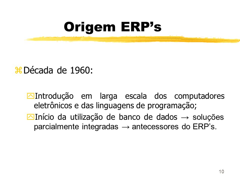 Origem ERP's Década de 1960: